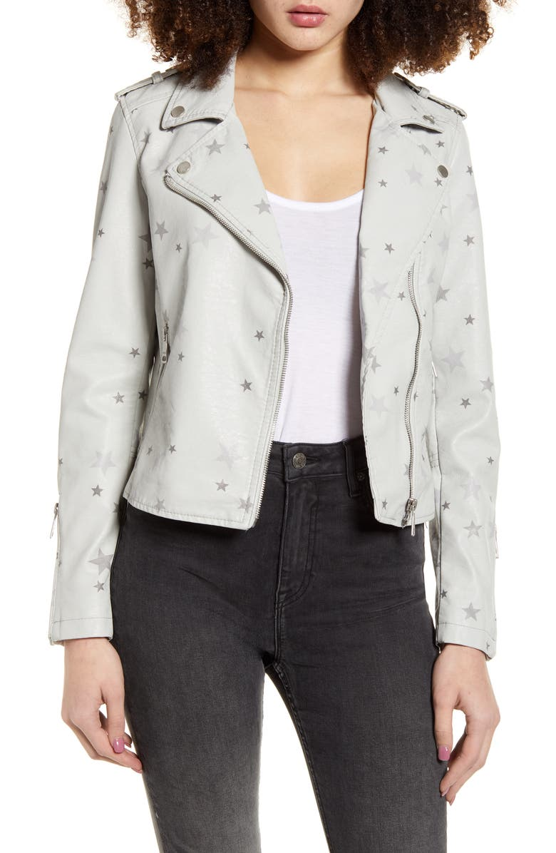 VIGOSS Star Faux Leather Moto Jacket, Main, color, LIGHT GREY