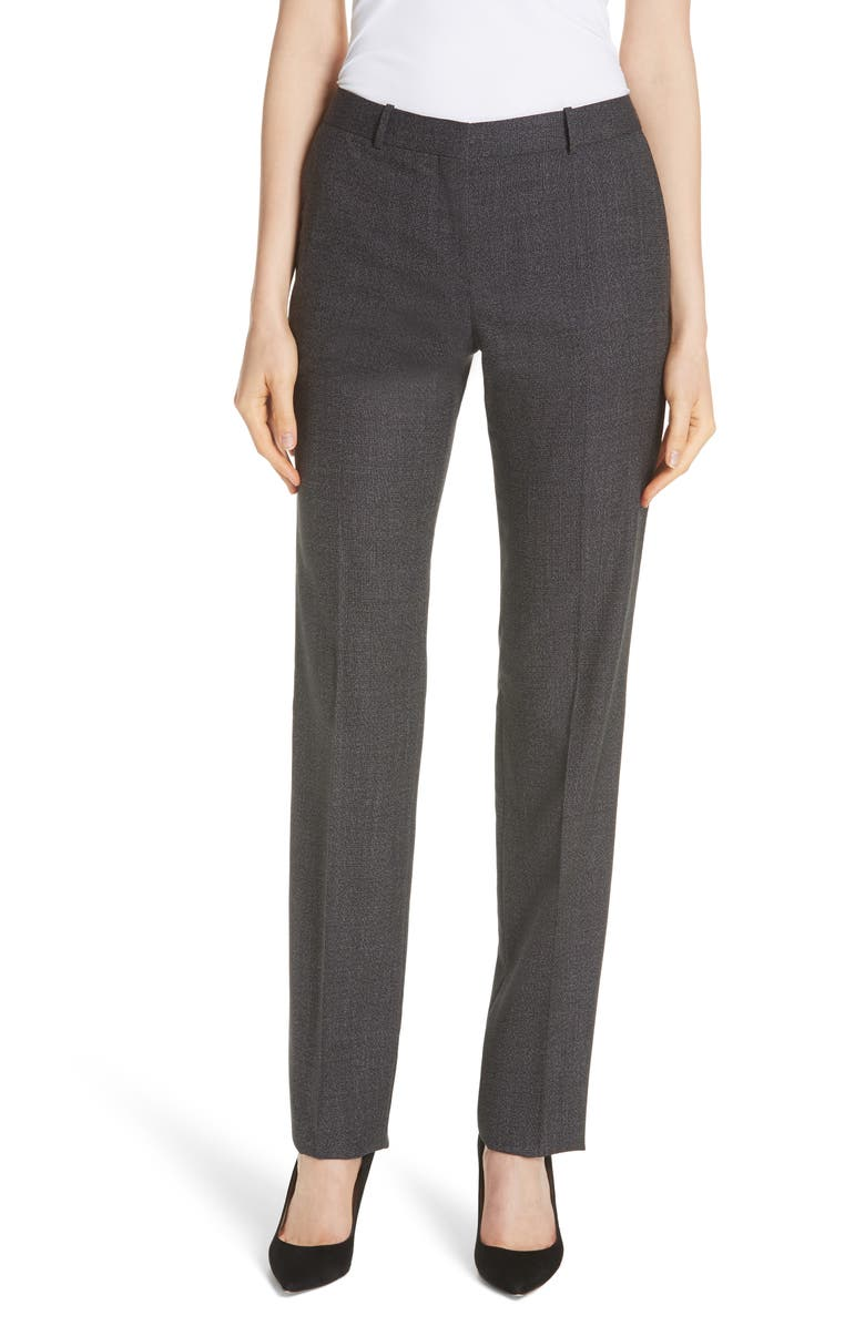 BOSS Tamea Tropical Stretch Wool Trousers, Main, color, 002