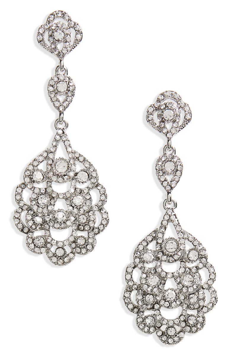 NINA 'Eiffel' Statement Drop Earrings, Main, color, ANTIQUE SILVER/ CLEAR CRYSTAL