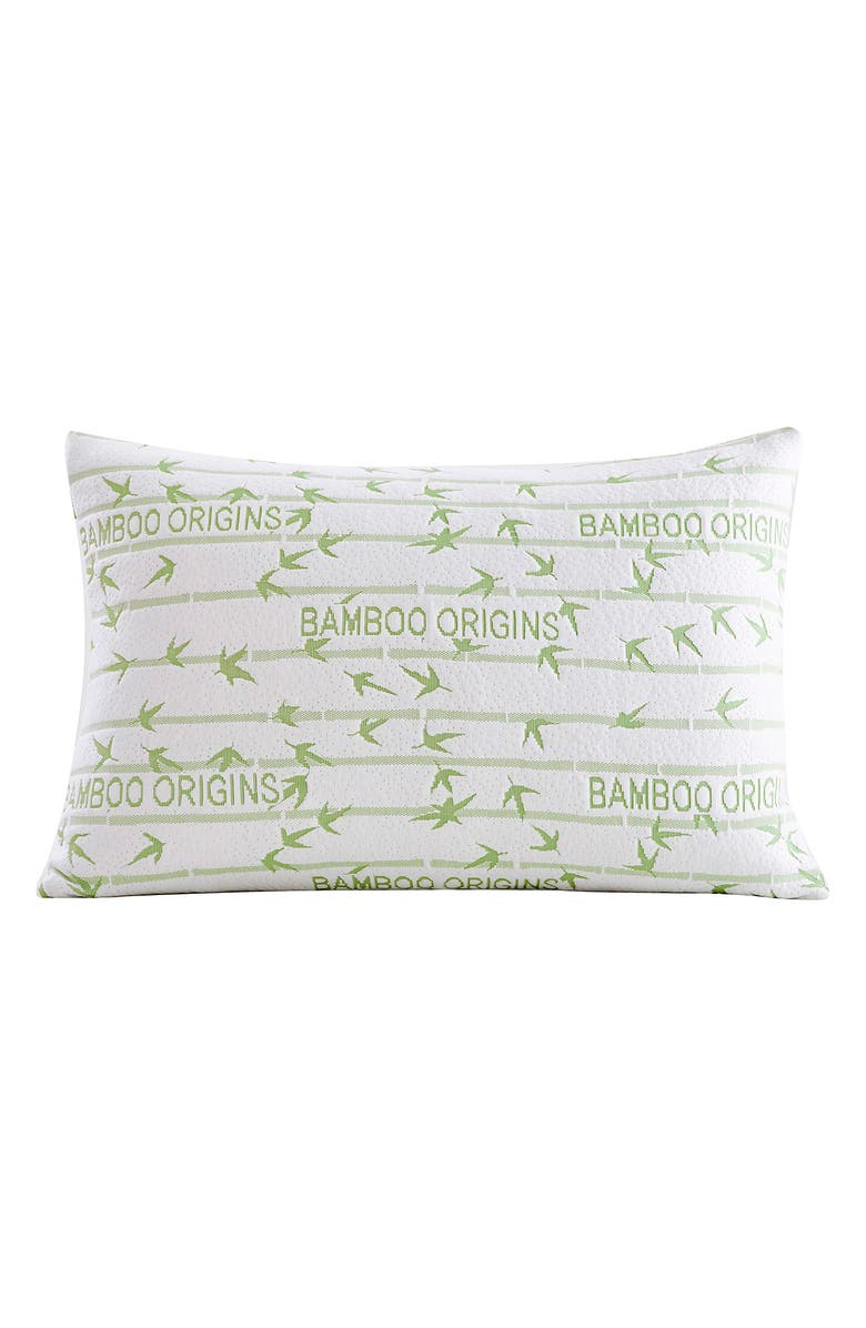 PUR SERENITY Rayon from Bamboo Origins Memory Foam Queen Pillow, Main, color, IVORY GREEN