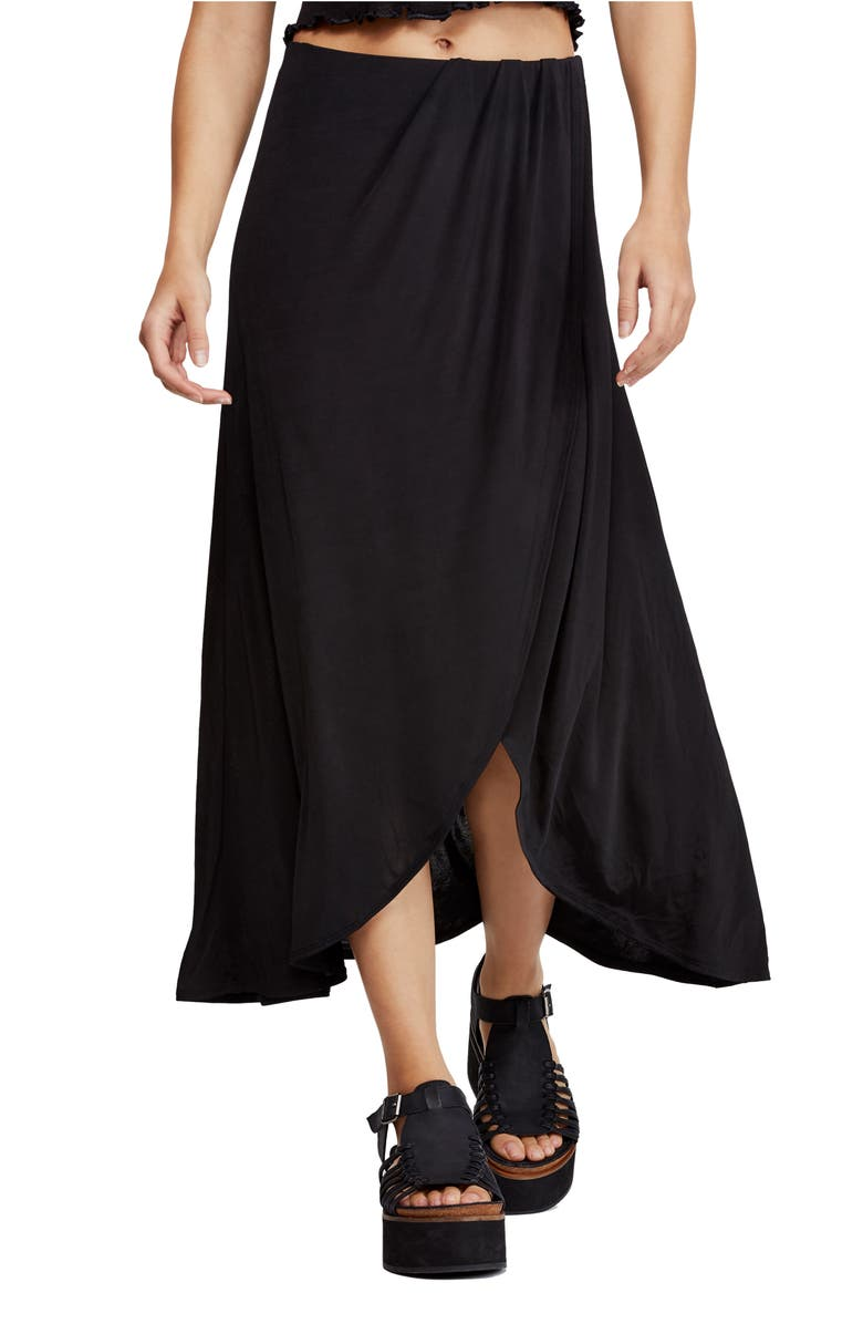 FREE PEOPLE Smoke & Mirrors Faux Wrap Skirt, Main, color, 001