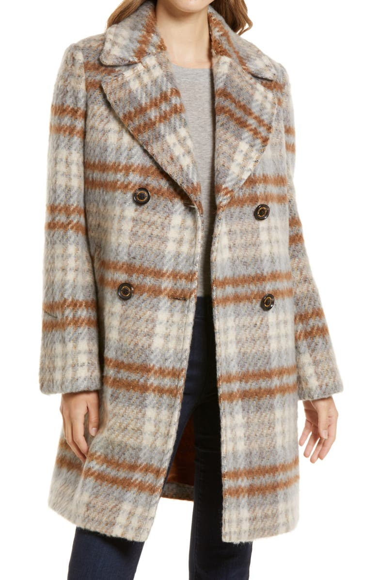 SAM EDELMAN Double Breasted Wool Blend Coat, Main, color, CAMEL MULTI PLAID