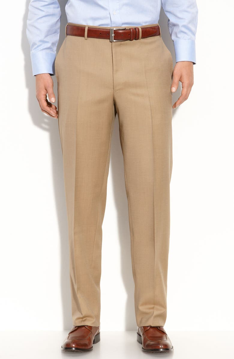 CANALI Flat Front Wool Trousers, Main, color, TAUPE