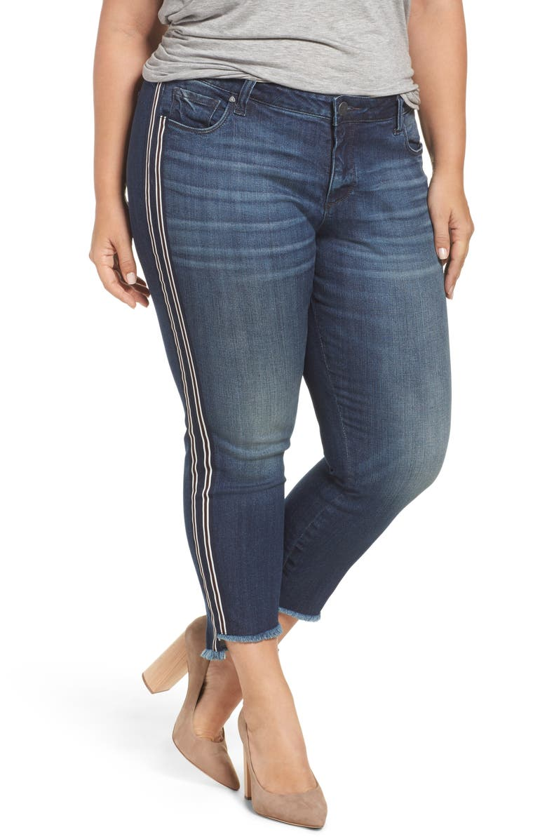 KUT FROM THE KLOTH Reese Side Stripe Uneven Ankle Jeans, Main, color, ANALYZED