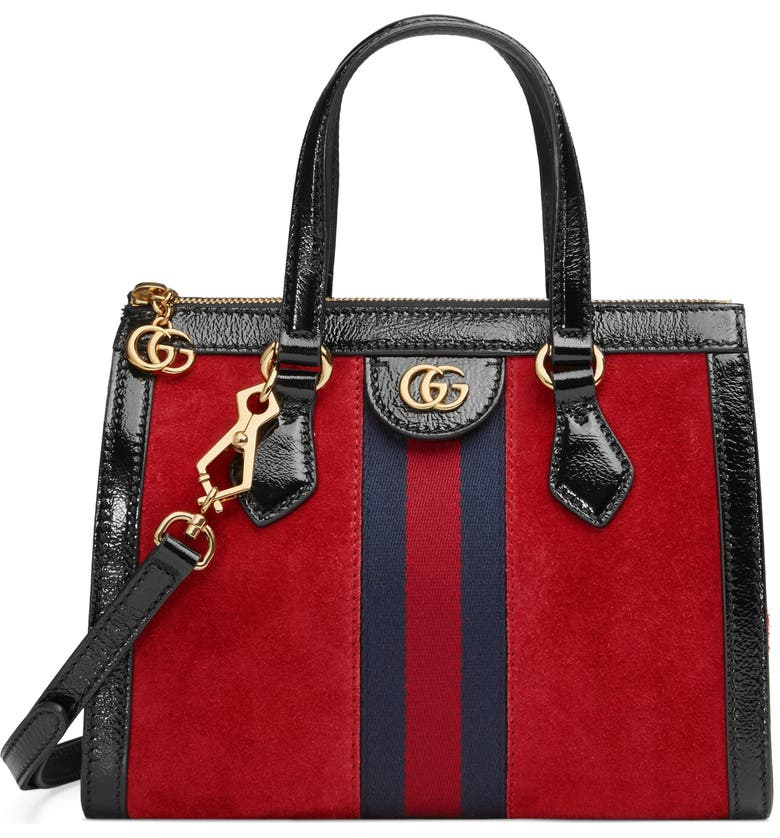GUCCI Small Ophidia House Web Suede Satchel, Main, color, 605