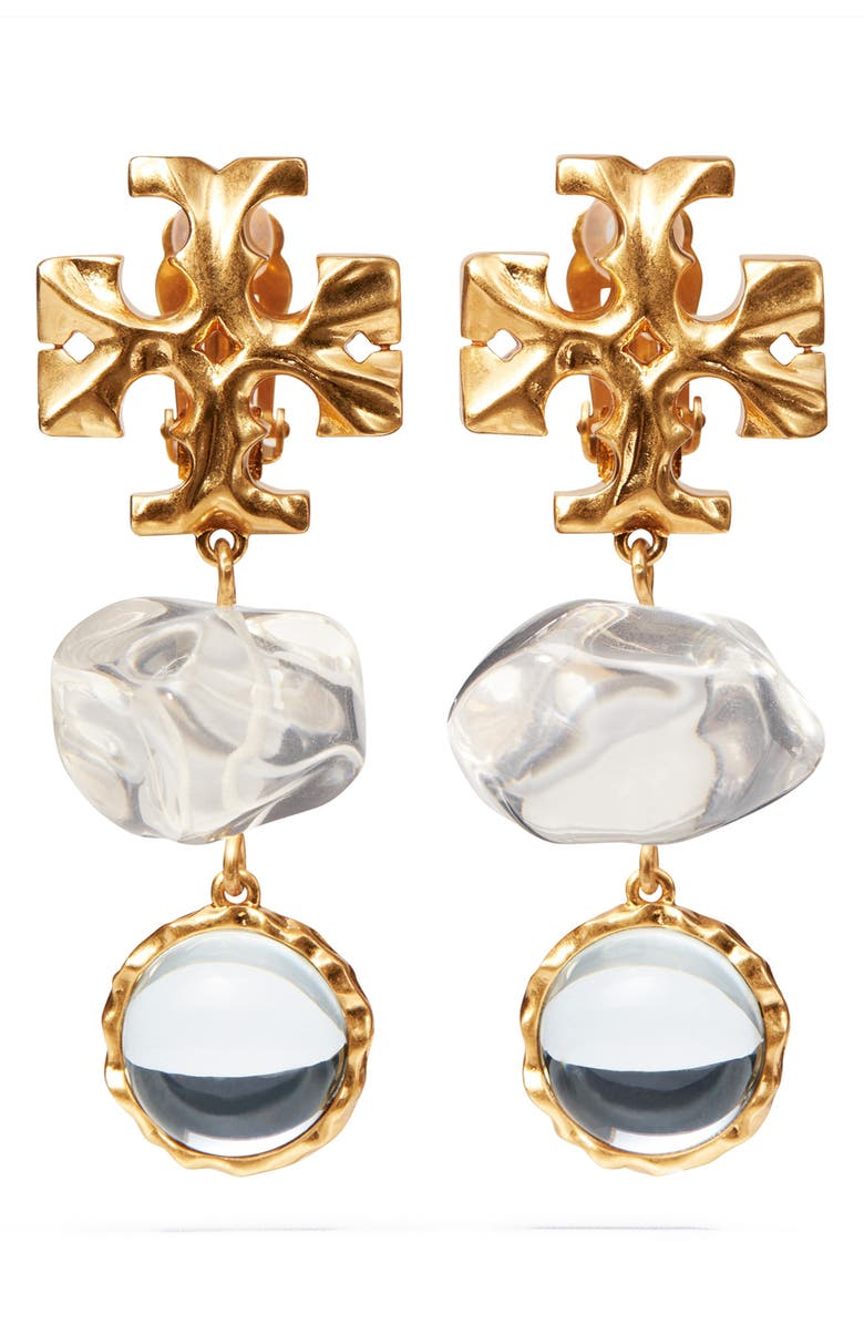 TORY BURCH Roxanne Double Drop Clip-On Earrings, Main, color, ROLLED BRASS 59 / CLEAR