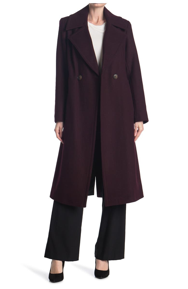 NINE WEST Double Breasted Long Wool Coat, Main, color, WINE