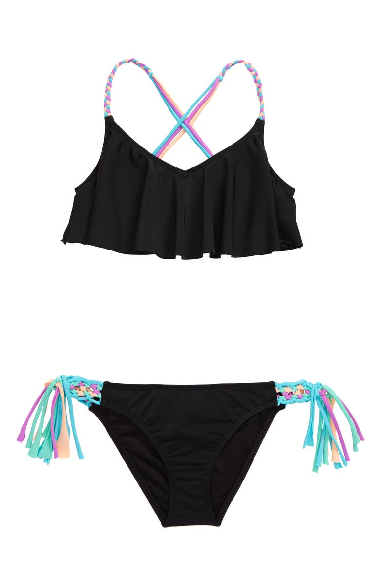 HEART AND HARMONY Two-Piece Swimsuit, Main, color, BLACK