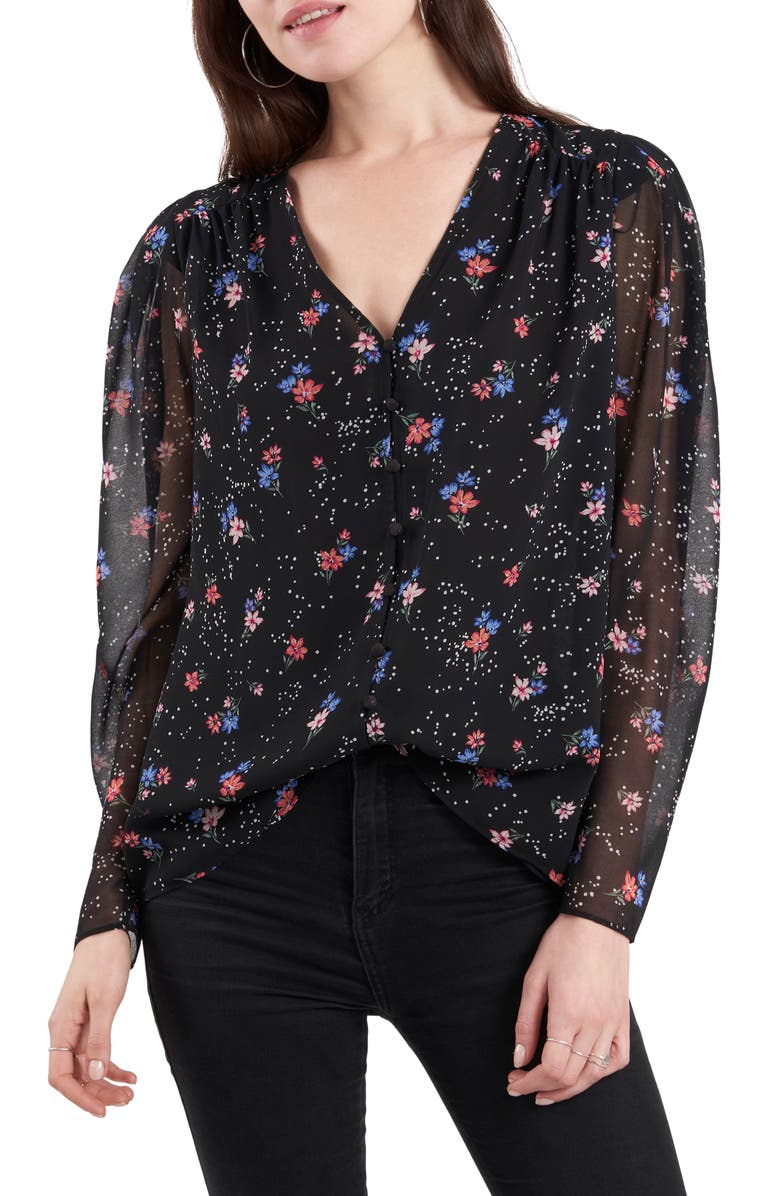 1.STATE Sheer Sleeve Blouse, Main, color, TRANQUIL GARDEN