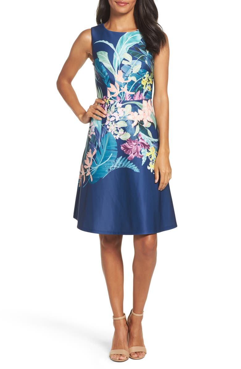 ADRIANNA PAPELL Scuba Fit & Flare Dress, Main, color, 480