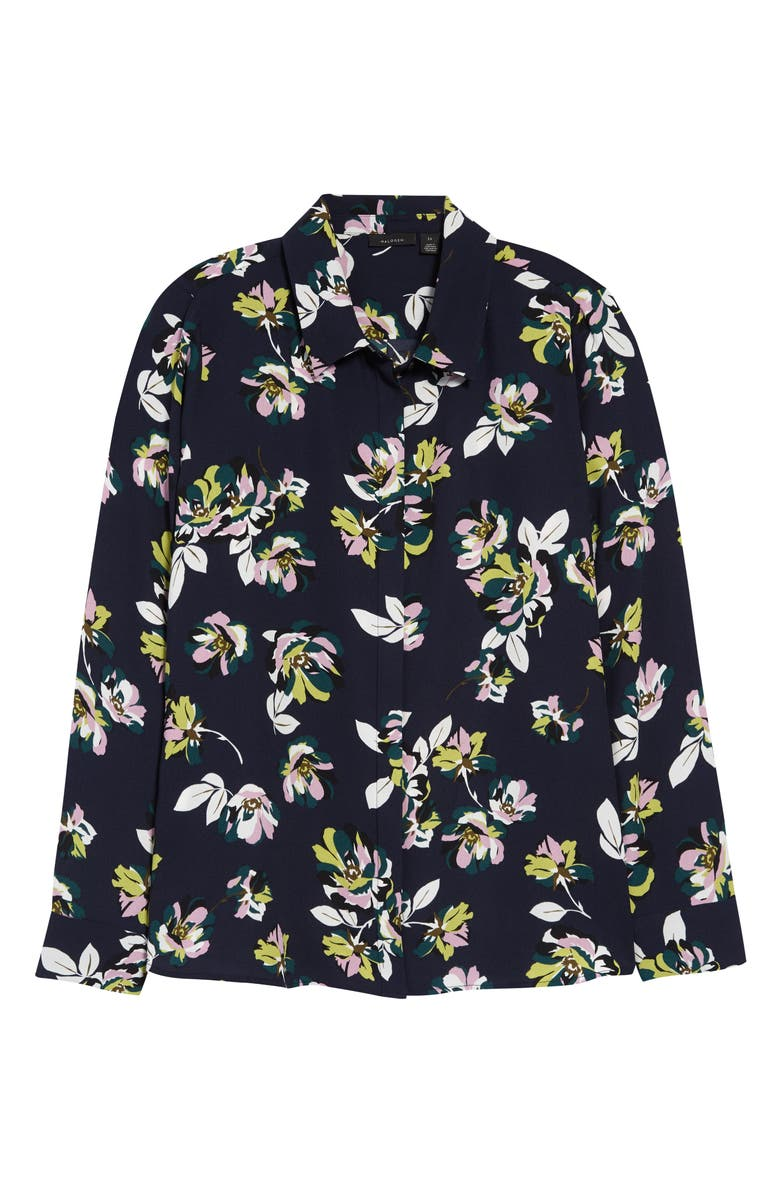 HALOGEN<SUP>®</SUP> Button-Up Shirt, Main, color, NAVY MANON FLORAL