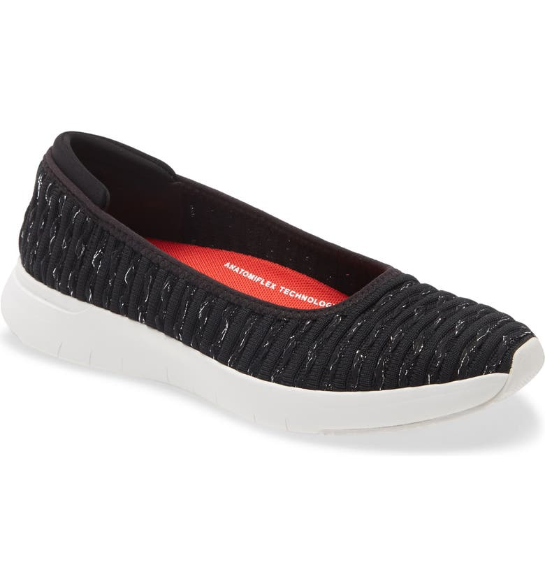 FITFLOP Knit Ballerina Flat, Main, color, 001