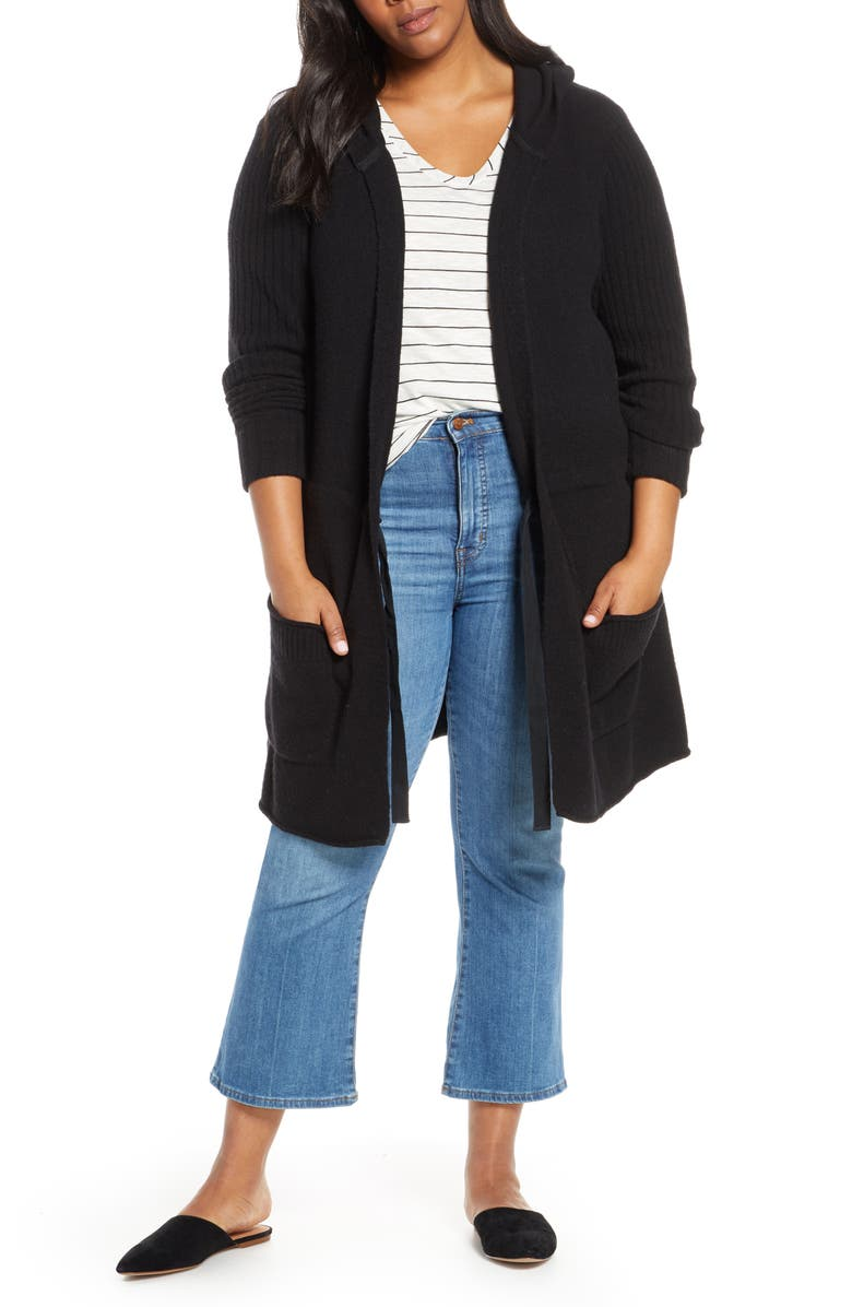 CASLON<SUP>®</SUP> Hooded Cardigan, Main, color, 001