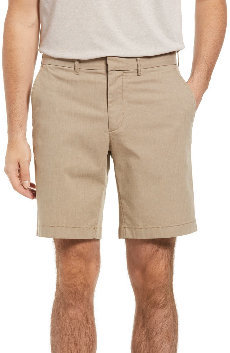 NORDSTROM Slim Fit CoolMax<sup>®</sup> Flat Front Performance Chino Shorts, Main, color, TAN DESERT