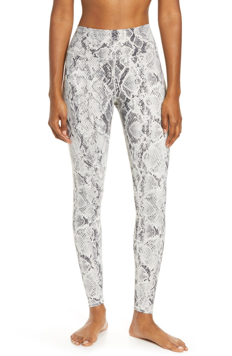 ALO High Waist Snake Print Leggings, Main, color, BONE