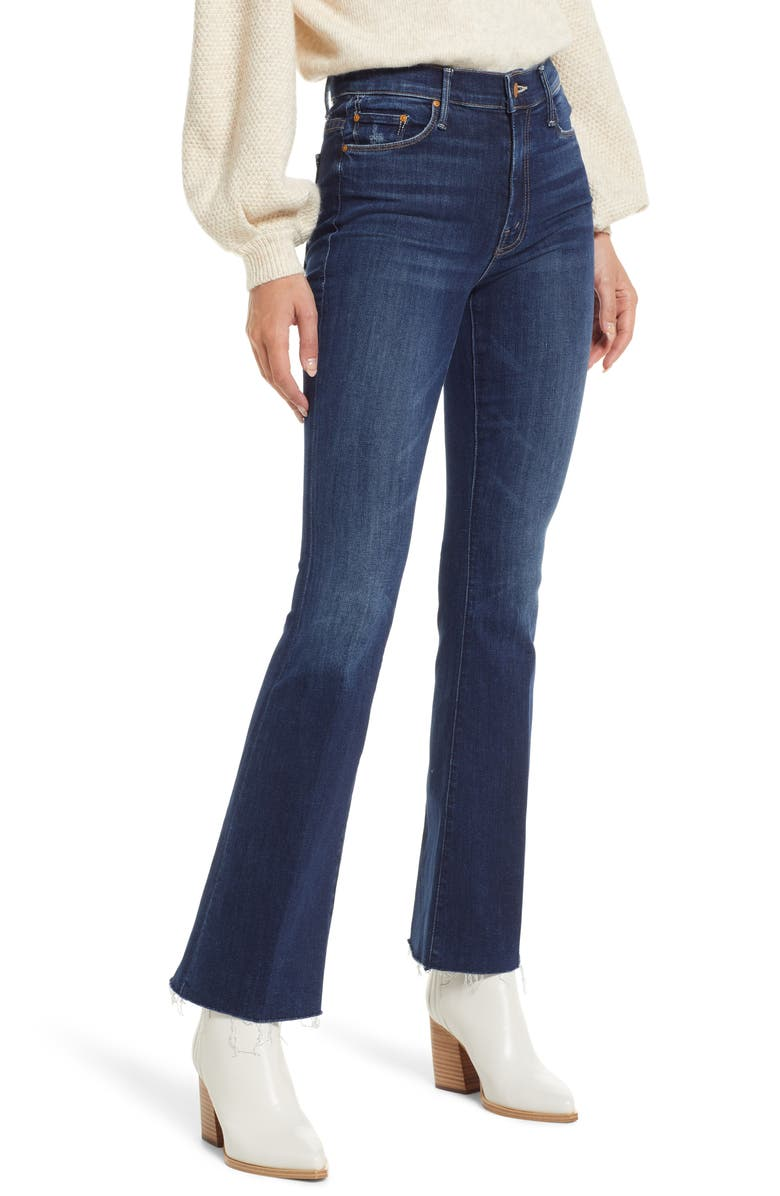 MOTHER Fray Hem Bootcut Jeans, Main, color, TEAMING UP