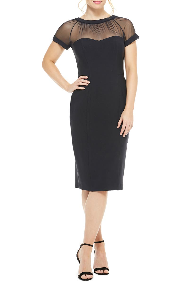 MAGGY LONDON Illusion Yoke Crepe Cocktail Dress, Main, color, NAVY