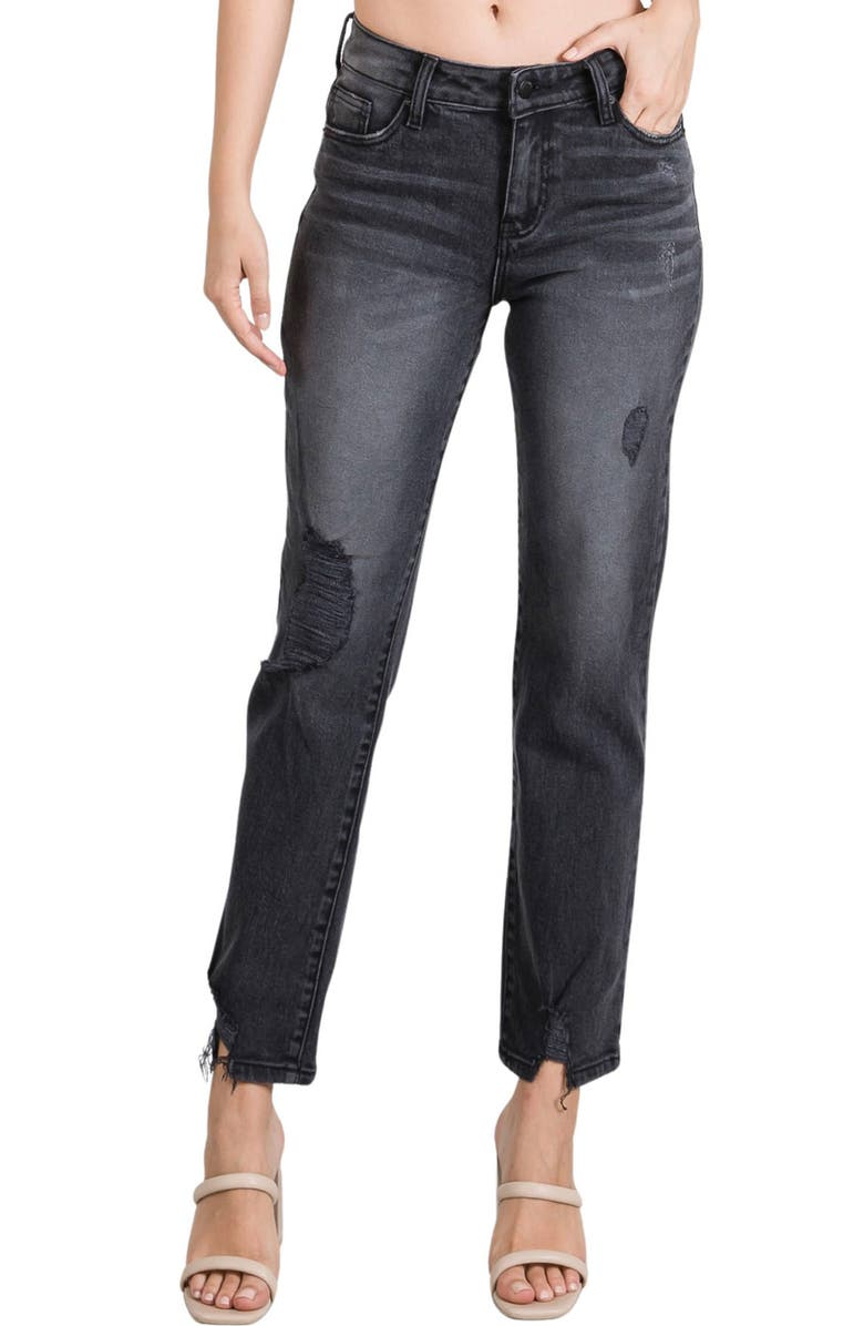 L.T.J. L.T.J Romeo Distressed High Waist Relaxed Fit Jeans, Main, color, WASHED BLACK