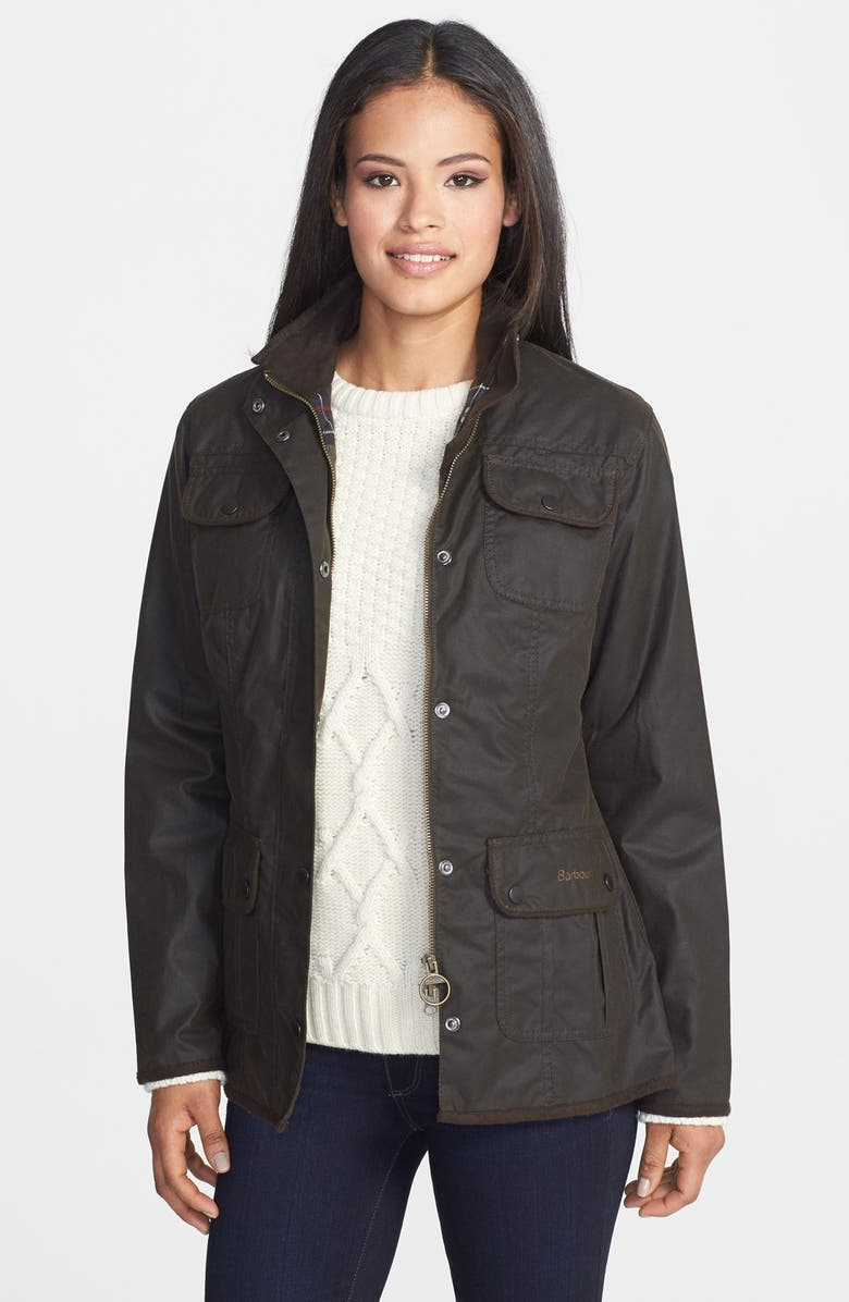 BARBOUR Waxed Cotton Utility Jacket, Main, color, 340