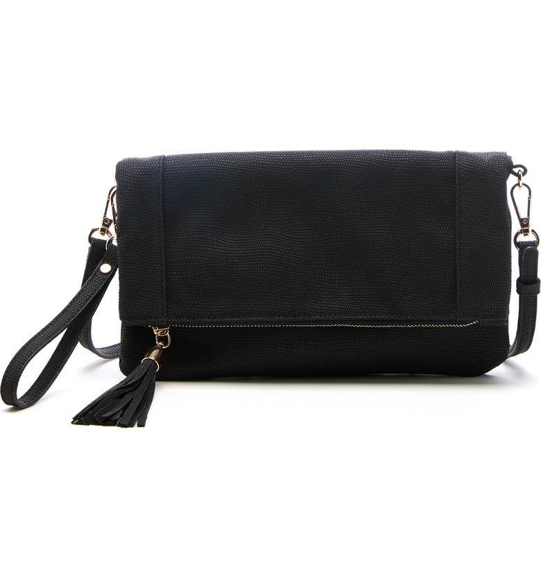 SOLE SOCIETY Convertible Faux Leather Clutch, Main, color, 001