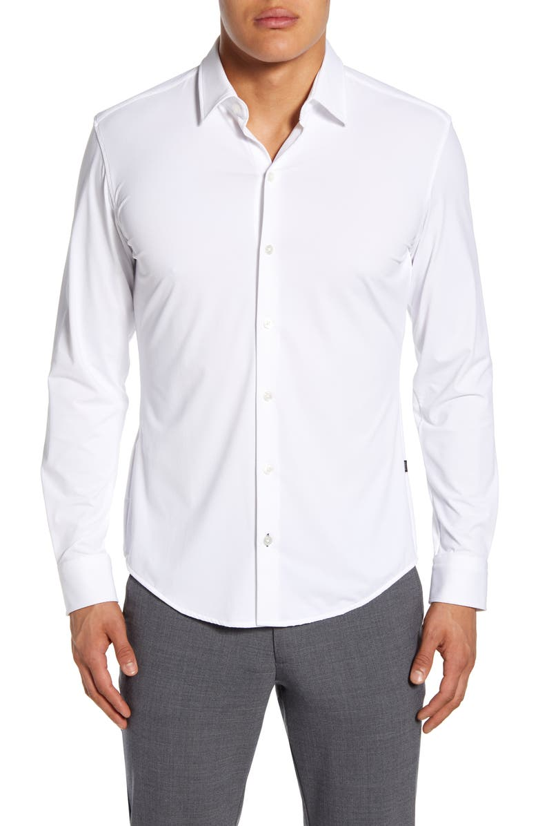 BOSS Robbie Regular Fit Button-Up Performance Shirt, Main, color, WHITE
