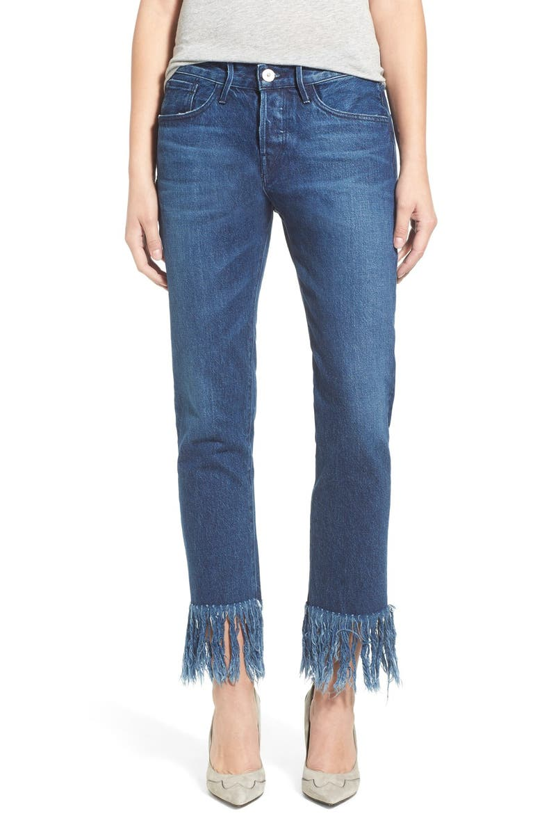 3X1 NYC High Rise Crop Fringe Straight Leg Jeans, Main, color, 420