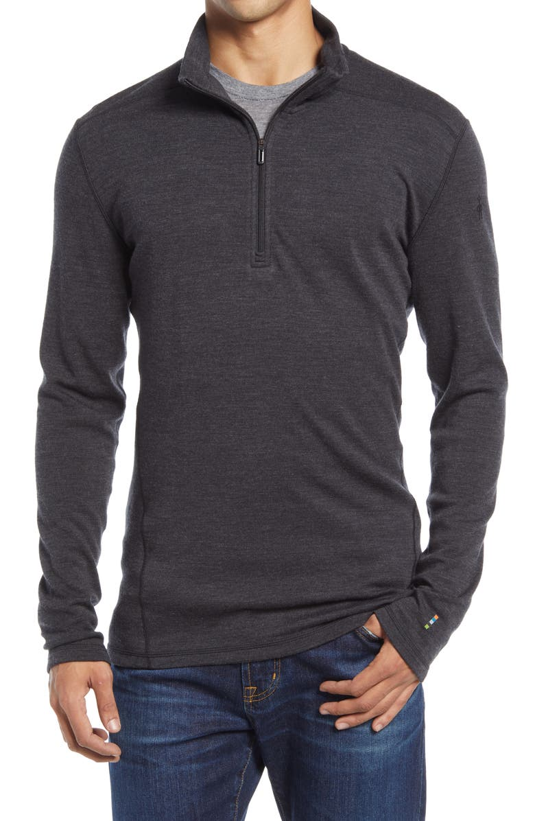 SMARTWOOL Merino 250 Base Layer Quarter Zip Pullover, Main, color, CHARCOAL HEATHER