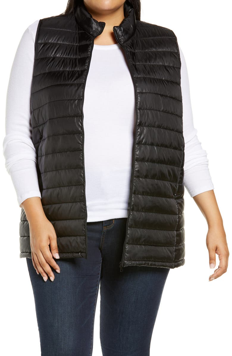 BOBEAU Quilted Puffer Vest, Main, color, BLACK