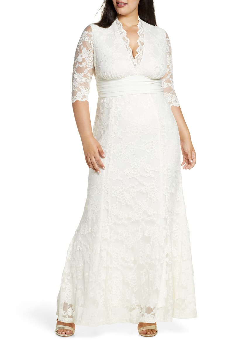 KIYONNA Amour Lace Gown, Main, color, IVORY