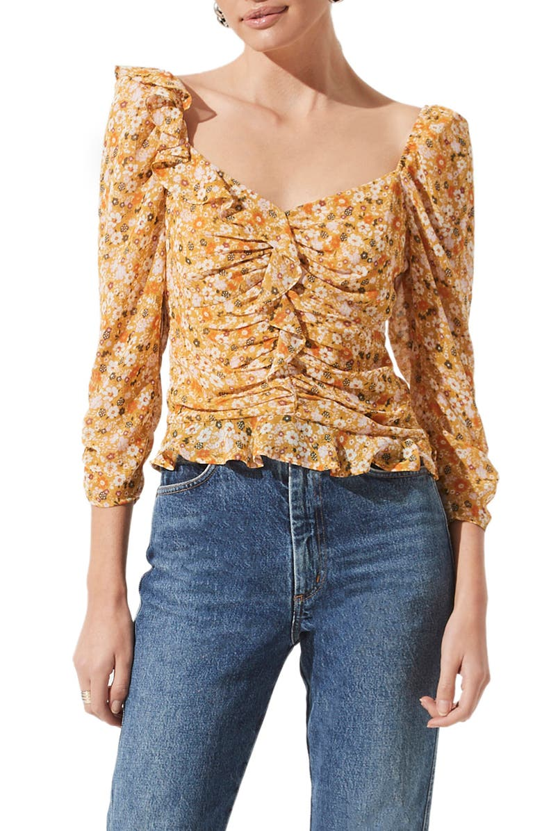 ASTR THE LABEL Ruched Sleeve Blouse, Main, color, MUSTARD ORANGE DISTY
