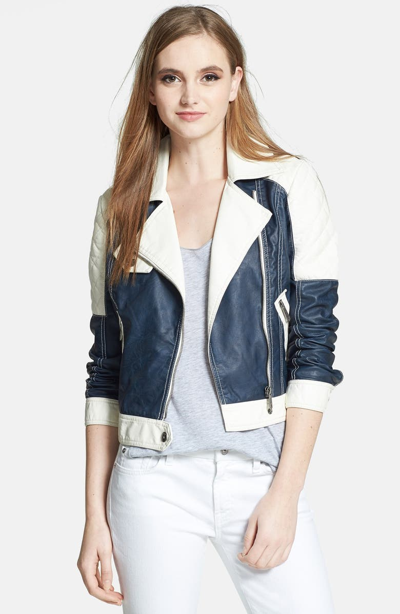 CIRCUS BY SAM EDELMAN Colorblock Faux Leather Moto Jacket, Main, color, 461