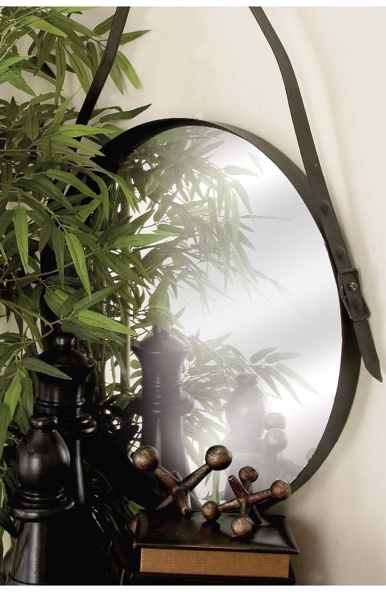 WILLOW ROW Black Round Metal Wall Mirror, Main, color, BLACK