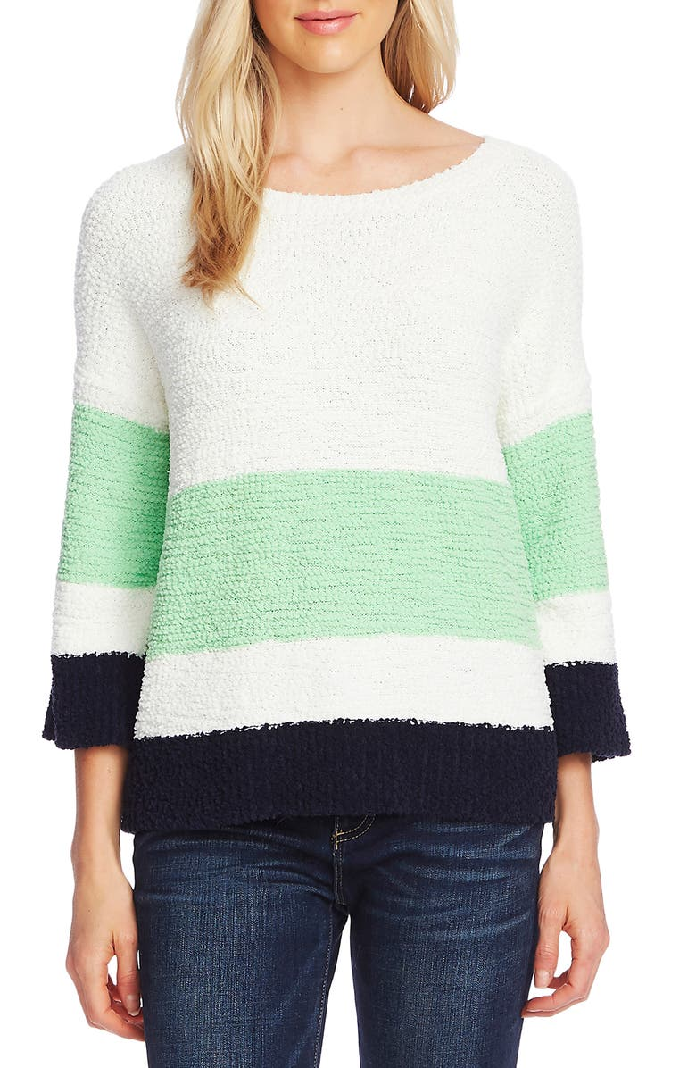 VINCE CAMUTO Colorblock Teddy Knit Sweater, Main, color, 125