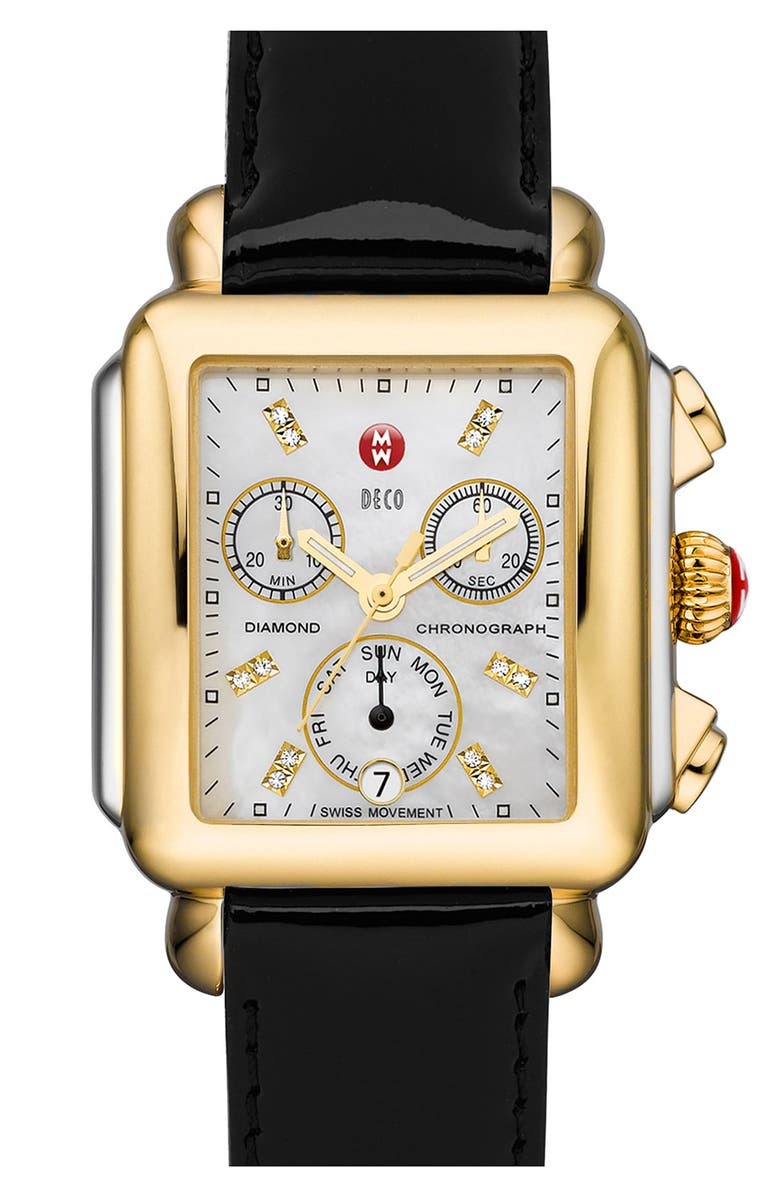 MICHELE Deco Diamond Dial Two-Tone Watch Head, 33mm x 35mm, Main, color, 710