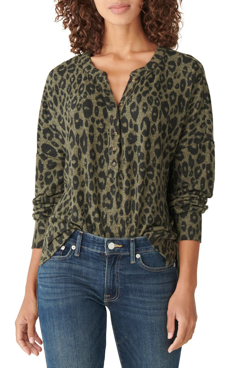 LUCKY BRAND Print Hacci Henley, Main, color, 341
