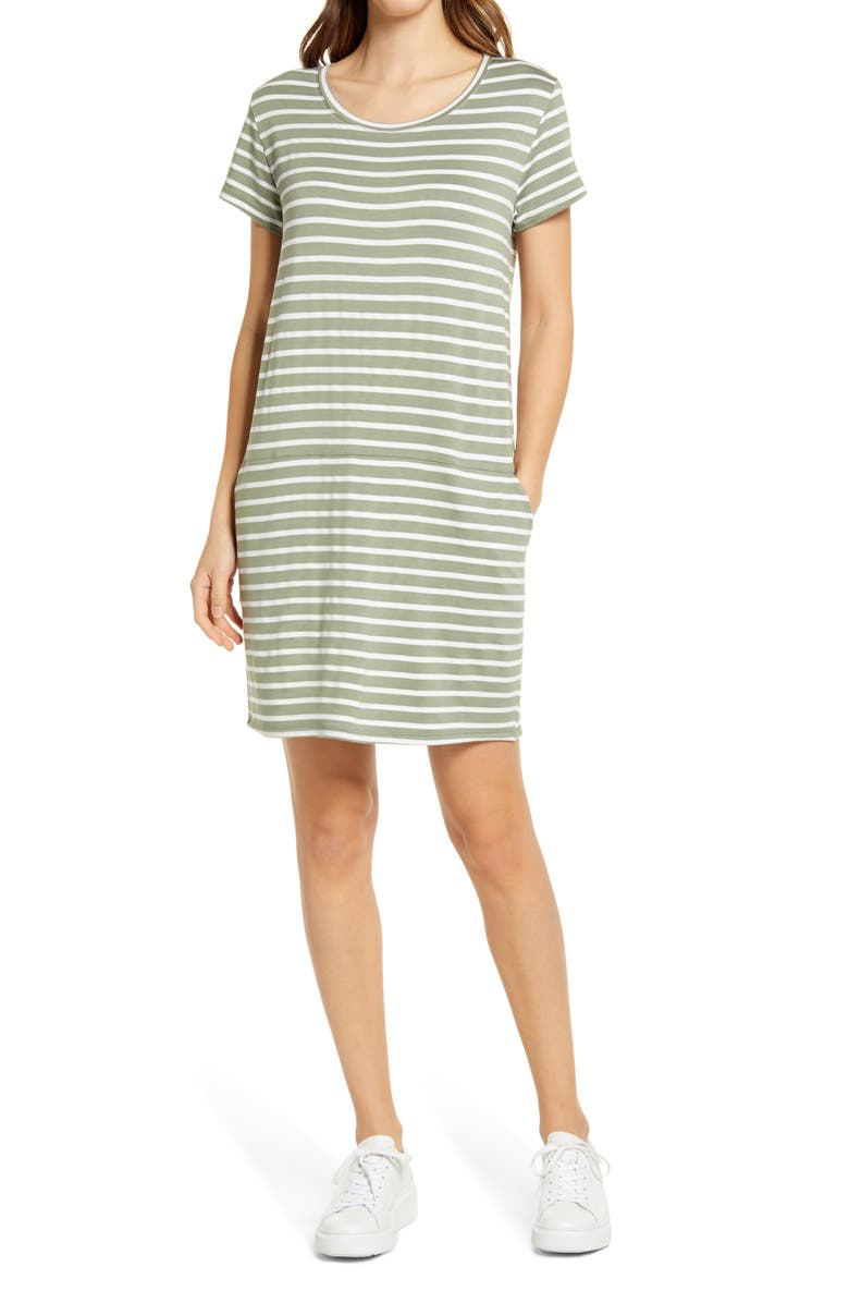 CASLON<SUP>®</SUP> Knit Shift Dress, Main, color, GREEN - IVORY CONSTANZA STRIPE