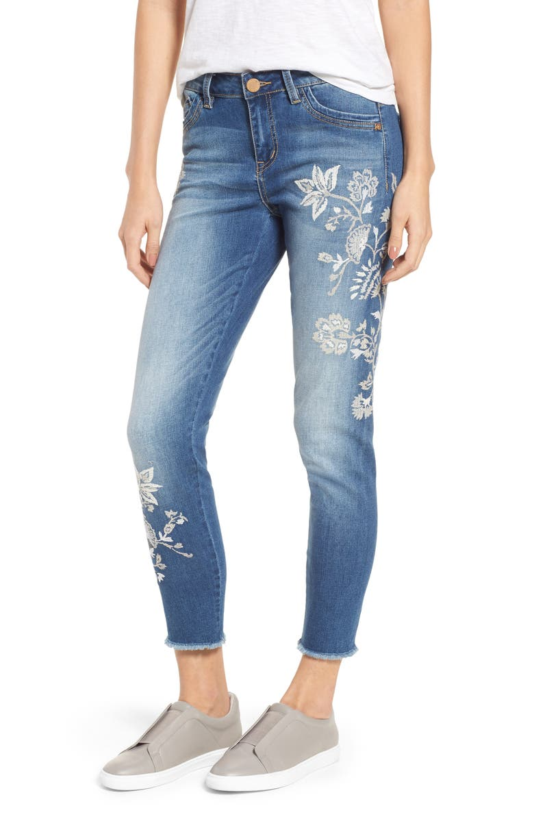 WIT & WISDOM Embroidered Frayed Hem Ankle Jeans, Main, color, LIGHT BLUE / WHITE