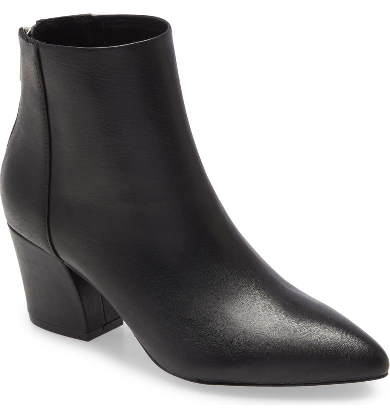 STEVE MADDEN Mistin Pointed Toe Bootie, Main, color, BLACK LEATHER