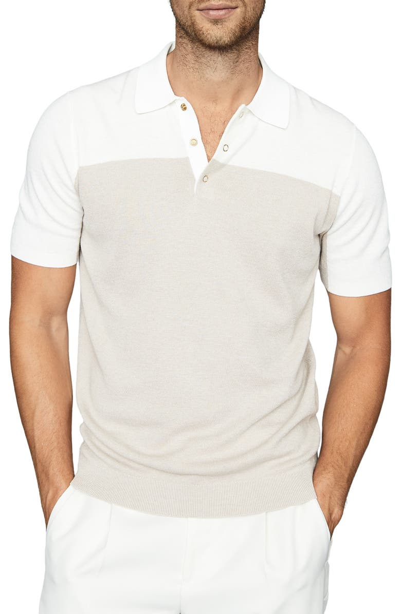 REISS Alessano Slim Fit Colorblock Short Sleeve Polo, Main, color, NATURAL