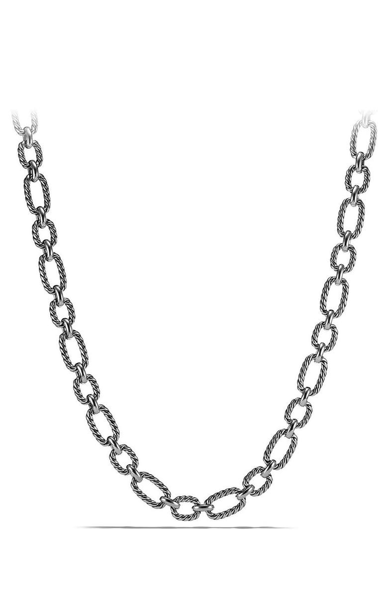 DAVID YURMAN Cushion Link Necklace with Blue Sapphires, Main, color, SILVER/ BLUE SAPPHIRE