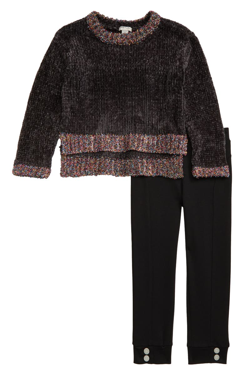 HABITUAL GIRL Habitual Colbie Chenille Sweater & Ponte Leggings Set, Main, color, 024