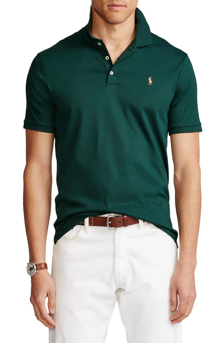 POLO RALPH LAUREN Solid Knit Cotton Polo, Main, color, COLLEGE GREEN