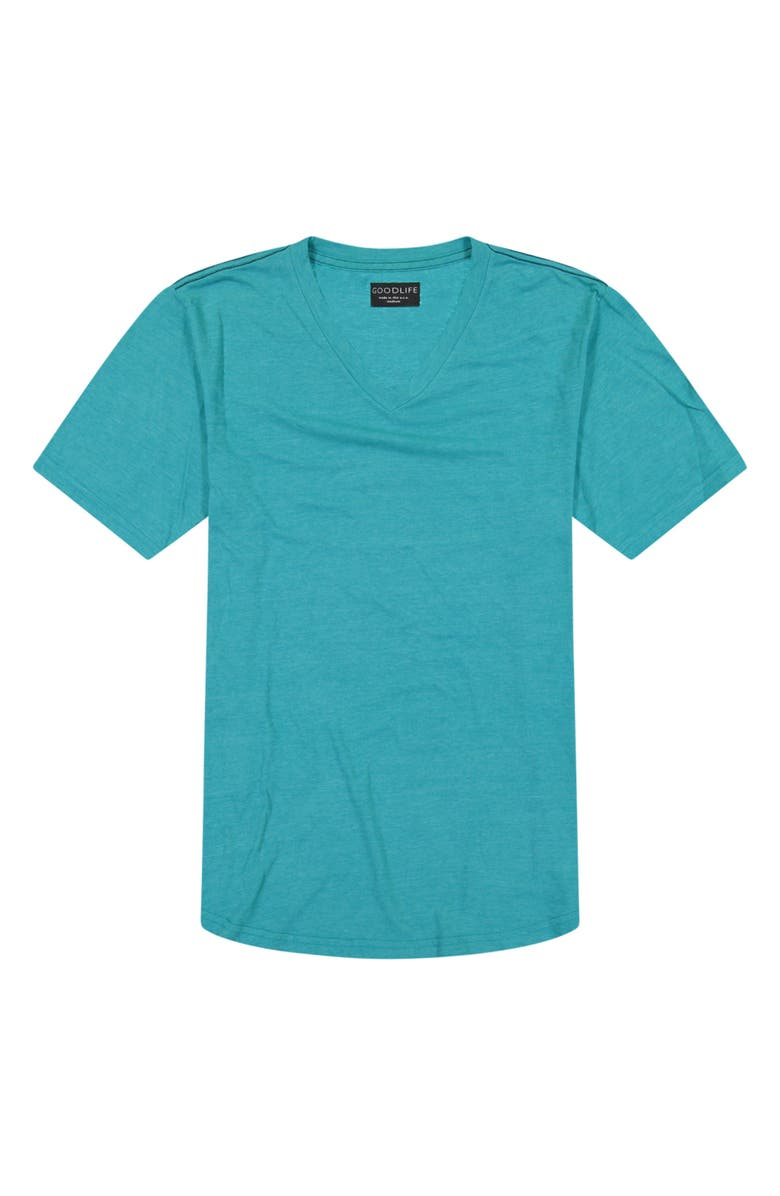 GOODLIFE Triblend Scallop V-Neck T-Shirt, Main, color, ENAMEL BLUE