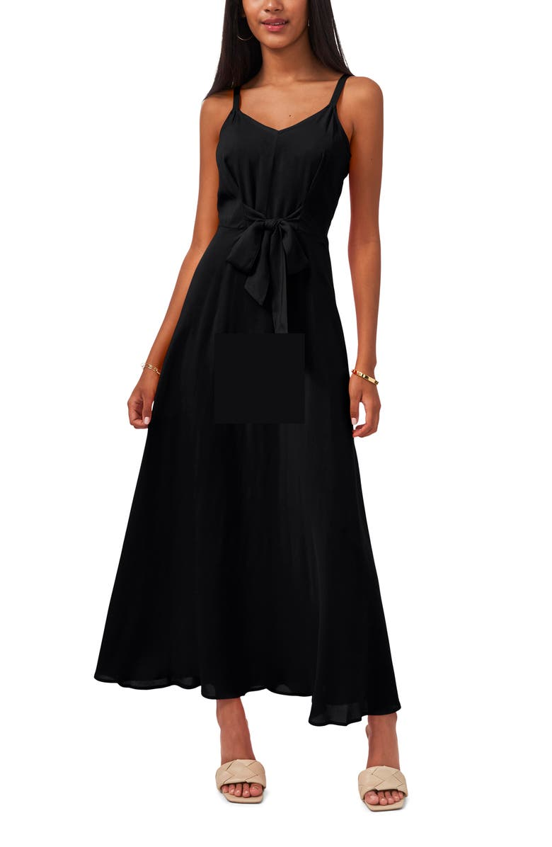 VINCE CAMUTO Tie Front Challis Sleeveless Maxi Dress, Main, color, 002