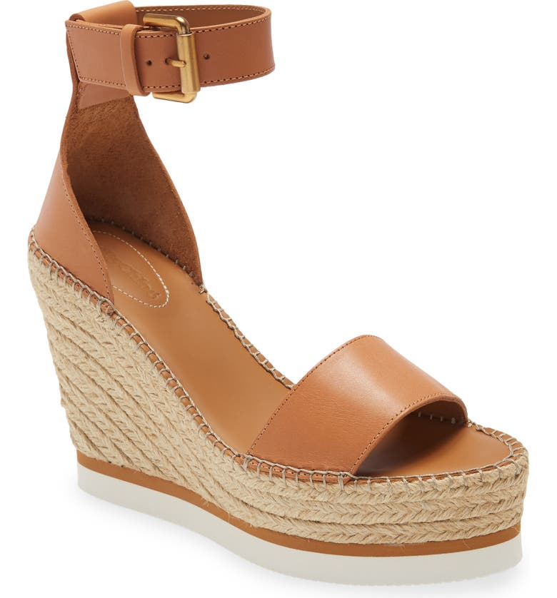 SEE BY CHLOÉ 'Glyn' Espadrille Wedge Sandal, Main, color, CUOIO