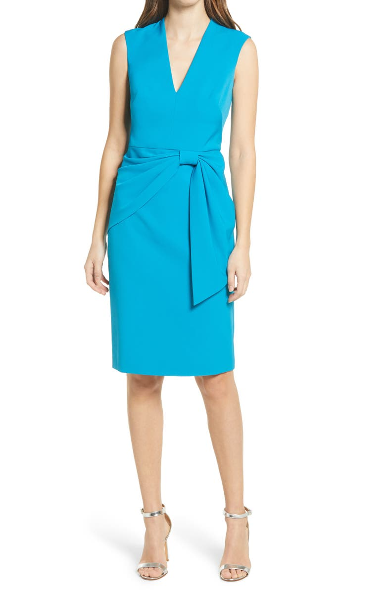 ELIZA J Knot Detail Sleeveless Sheath Cocktail Dress, Main, color, TEAL