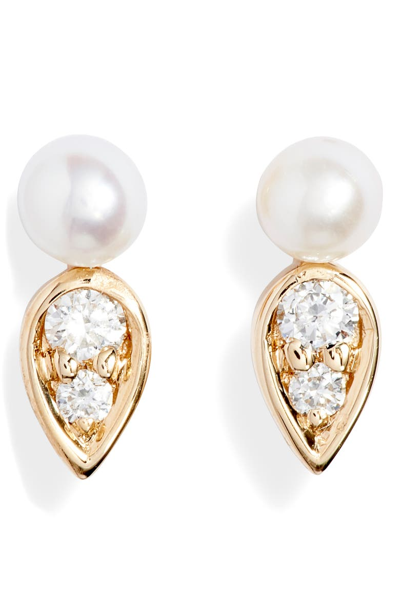 DANA REBECCA DESIGNS Pearl Ivy Petal Stud Earrings, Main, color, YELLOW GOLD