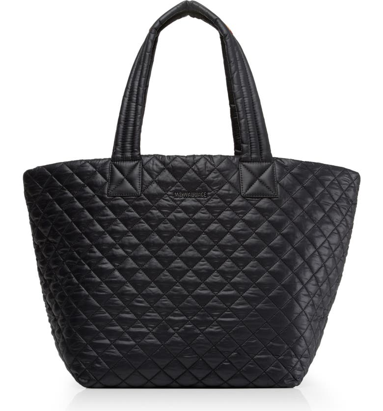 MZ WALLACE Medium Metro Quilted Nylon Tote, Main, color, BLACK/ BLACK