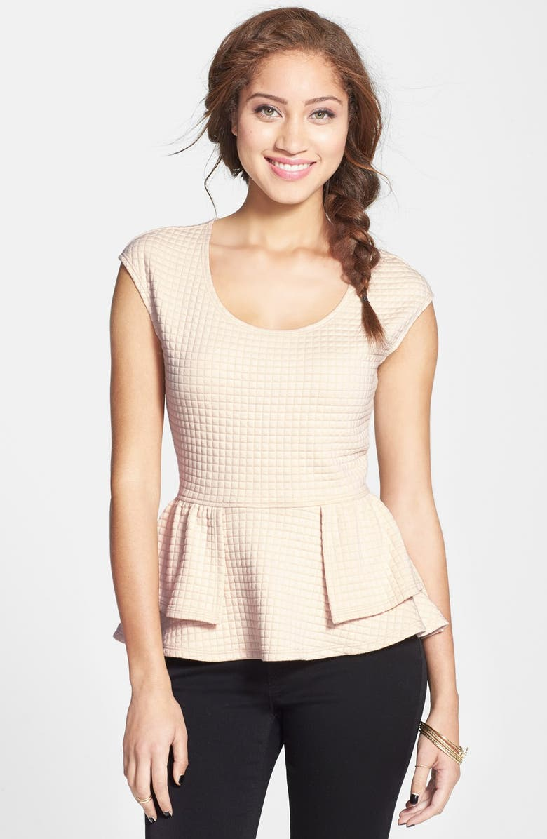 LOVE ON A HANGER Eyeshadow Quilted Peplum Top, Main, color, 650