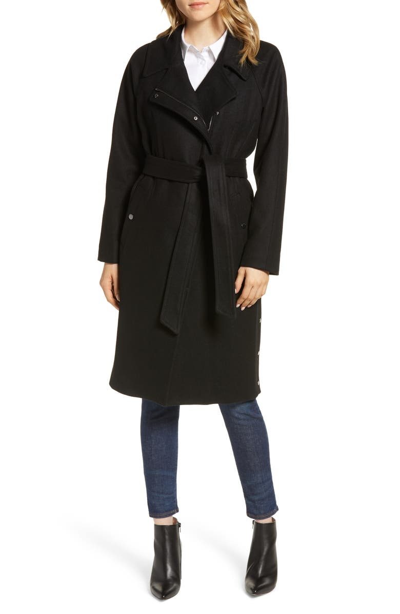MARC NEW YORK Wool Blend Trench Coat, Main, color, 001